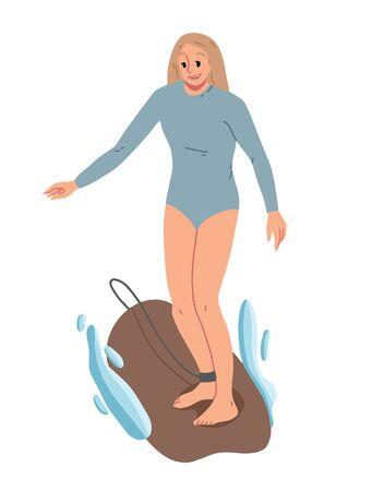 Girl surfing, riding on the water. Summer leisure Ilustração
