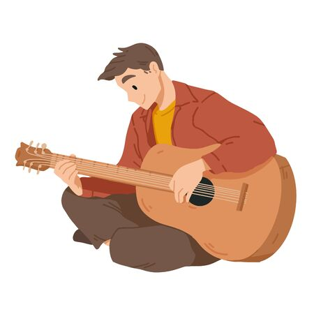 Man playing guitar. Musician. Musical performance. Vector