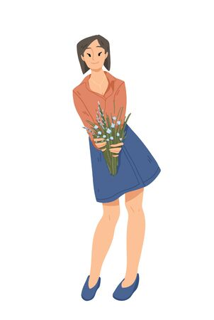 Beautiful woman holding a bouquet of flowers in hands. Summer, mothers day, happy women s day. 8 March