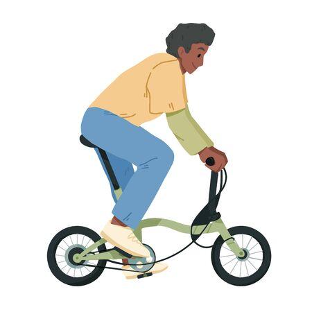 Boy riding bicycle, teenager on bike vector. Illustration