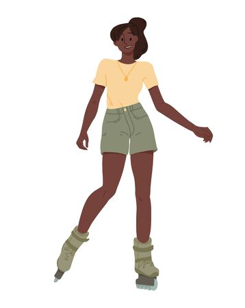 Black girls ride on roller skates. African young woman riding.