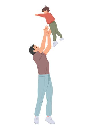 Father throwing his son. Man throws little boy up and catching him. Parent playing with kid. Ilustração