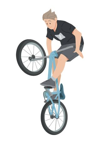 Boy riding bicycle, teenager on bike vector. Illustration