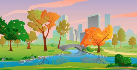 Autumn city landscape with river and yellow trees, beautiful sunset colors