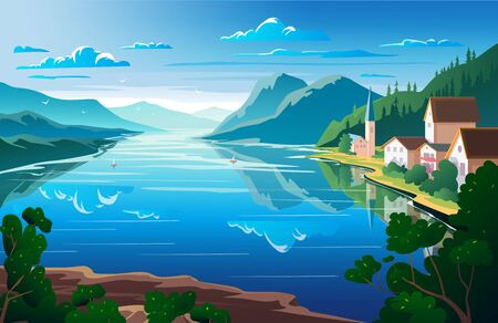Nature landscape, mountains and river View point. Illustration