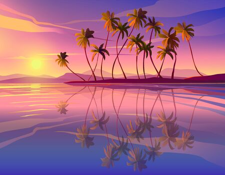Beautiful seaside sunset. Decline, ocean, palm trees.