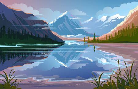 Bella natura, paesaggio naturale. Scenario di montagna serale Vettoriali