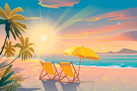 Palm and tropical beach. Chairs on the sandy beach near the sea. Summer holiday, vacation and travel. Illustration