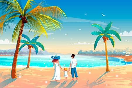Back view of a happy family on tropical beach summer vacation Father, mother and child against blue sea. 向量圖像