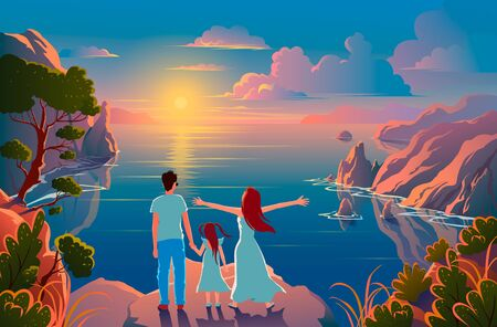 Family stand on the edge of a cliff with a beautiful view of nature and admire the sunset and the scenery. Иллюстрация