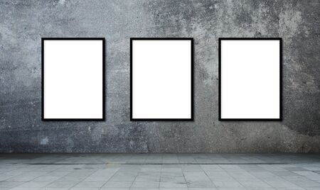 Blank frame on a concrete wall cement texture Zdjęcie Seryjne