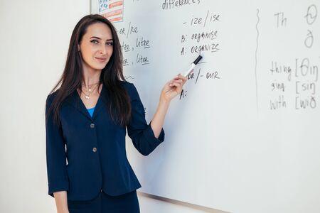 Teacher near whiteboard explains the rules. Learn foreign language. Zdjęcie Seryjne