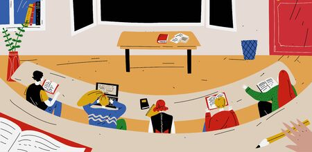 Students sit in the classroom and learn. School, lesson Ilustracja