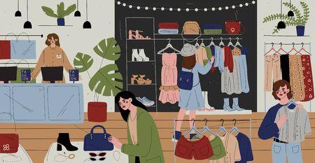 Clienti e personale nel negozio di abbigliamento, catena di negozi.