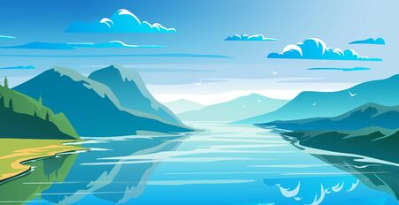 Natural landscape, mountains and lake, beautiful morning scene. Illustration