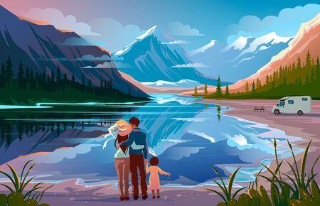 Glückliche Familie, die in der Nähe des Sees steht und wegschaut Familienurlaubsreisen, Campingurlaub.