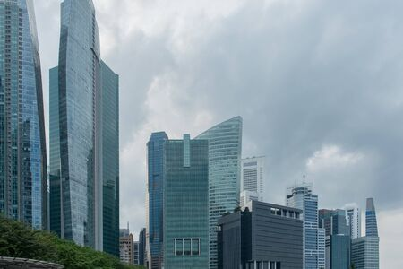 Modern skyscrapers low angle view cityscape urban landscape