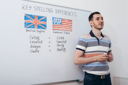 Teacher talks about the difference between British and American English. Banco de Imagens