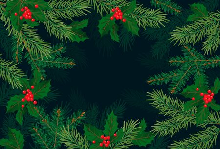 Christmas tree branches, background for congratulations New Year, Christmas, winter holidays 版權商用圖片