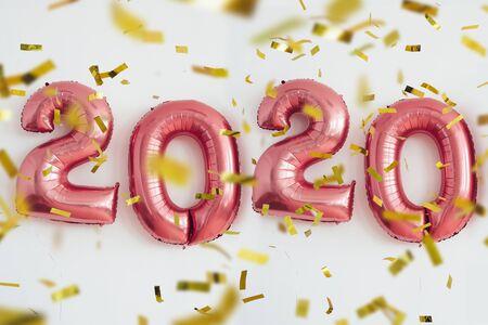 Navidad año nuevo 2020 números globos. Celebración, fiesta.
