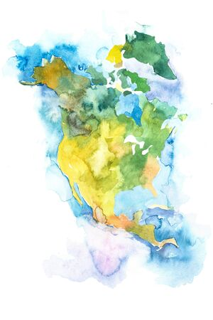 Map of North America, USA and Canada. Watercolor.