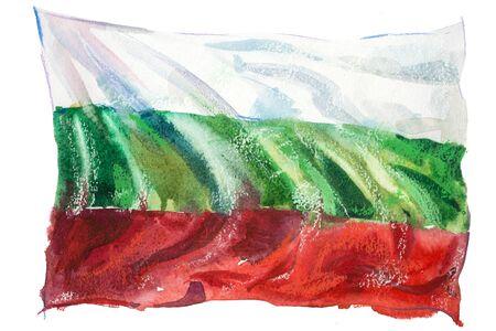 Bulgaria, bulgarian flag. Hand drawn watercolor illustration Stock fotó