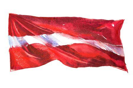 Latvia, latvian flag. Hand drawn watercolor illustration. 版權商用圖片