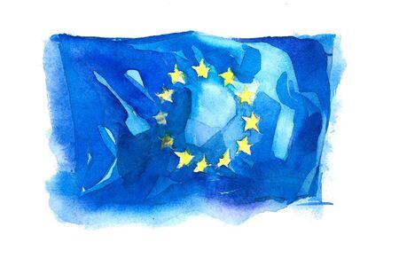 Europe, European Union flag. Hand drawn watercolor illustration.