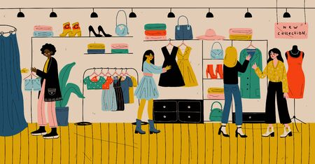 People shopping in retail store, clothes shop, fashion boutique