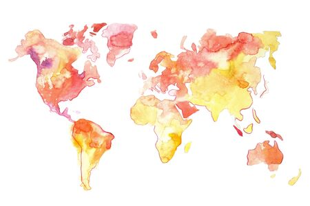 Watercolor map of the world hand drawn red yellow colors. 版權商用圖片
