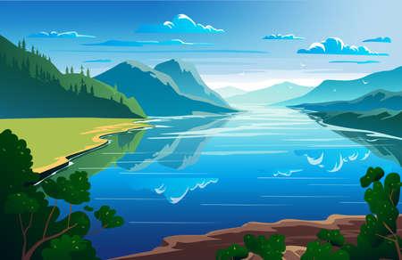 Sunny day, summertime, beautiful natural landscape Vector illustration Ilustracje wektorowe