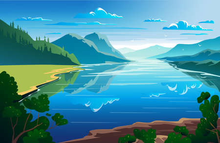 Sunny day, summertime, beautiful natural landscape Vector illustration Ilustración de vector