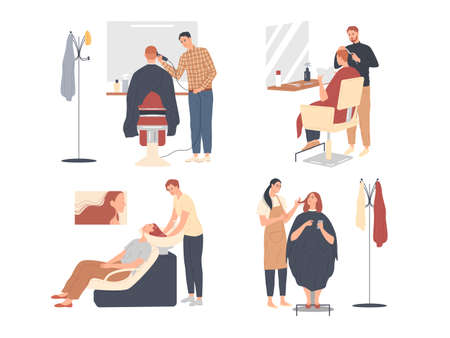 Customer service in the hairdressing salon. Men barbers and women stylists at work, they do haircuts.