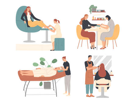 Beauty salon masters provide services to clients. Manicure, pedicure, massage.