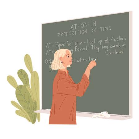 English teacher writes on a chalkboard. Foreign language lesson