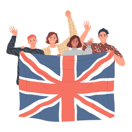 Group of people are holding the British flag. Learn English