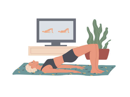 Glute Bridge. Woman performs exercises at home lying on the floor, raising her leaning on the top of her back and foot