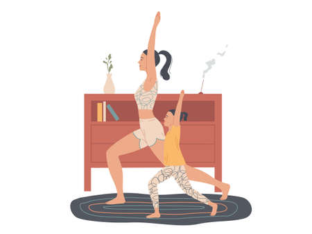 Mother and child practice yoga at home, do an exercise warrior pose. Illustration