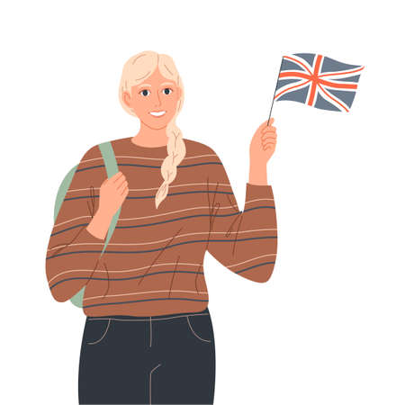 Female student holds English flag. She is a tourist, native speaker or learns English.