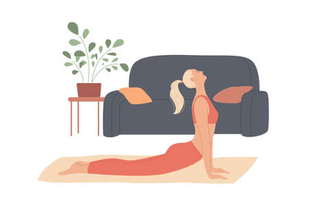 Woman exercises at home, stretches out, curves her back lying on the floor Stock Illustratie