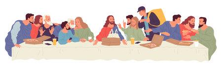 People sitting at table with food delivered by courier from food delivery service. Illustration based on Leonardo Da Vinci painting The Last Supper Ilustração Vetorial