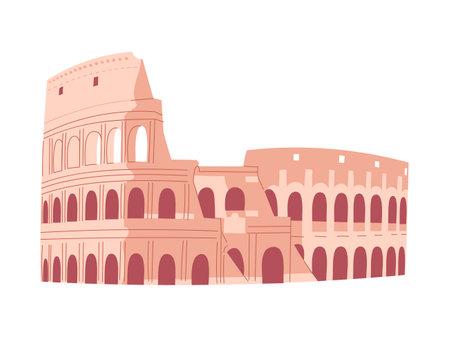 Coliseum in Rome. Italian sightseeing. Vector illustration.
