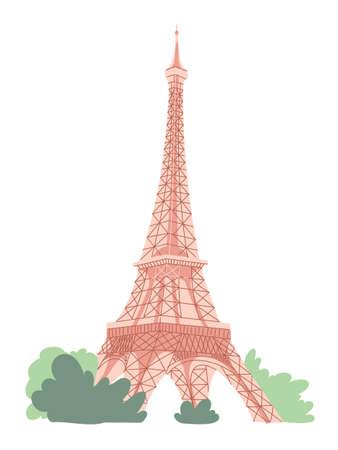 Eiffel tower in Paris on white background. Illustration