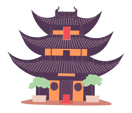 Ancient Chinese tower traditional structure historic cultural heritage. Illustration