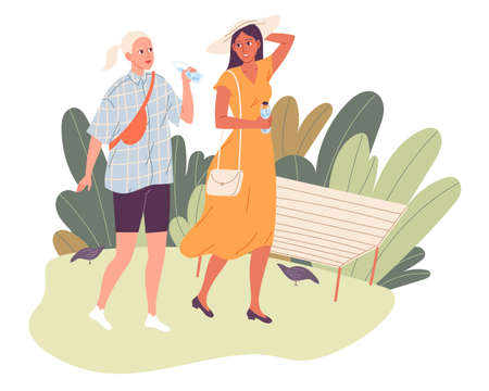 Two girls on a walk in the park in the hot summer. Friends walking, talking, one drinking water Illustration