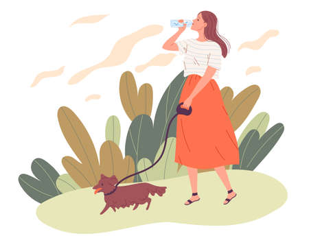 Young woman walking her dog and drinking water Illustration