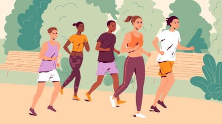 People running outdoors. Group of young men and women jogging