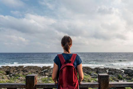 Young woman standing by the sea and looking at the horizon