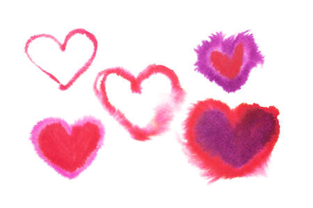 Hearts drawn in watercolour isolated. Aquarelle illustration. Standard-Bild