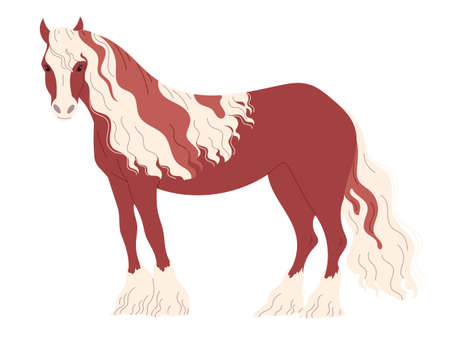 Red-brown horse with a two-color long mane Vektorgrafik
